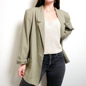 Vintage Linen Oversized Olive Green Blazer Jacket